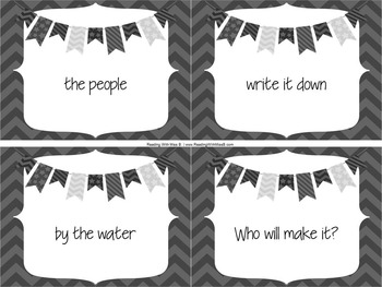Fluency Phrases Flashcards (Using The First 100 Fry Words)