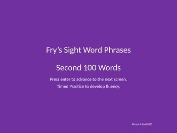Fluency Phrases - Second 100 - Fry's Sight Words