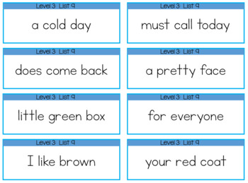 Fluency Phrases for 2nd and 3rd Graders