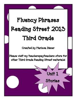 Fluency Phrases for Main Story - Reading Street 2013 - 3rd Grade - Unit 1