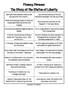 Fluency Phrases for Main Story - Reading Street 2013 - 3rd Grade - Unit 6
