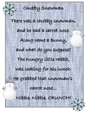 Fluency Poem-Chubby LIttle Snowman Poster with Pocket Chart Build Cards
