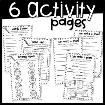 CVC Words Fluency Poem and Activity Book
