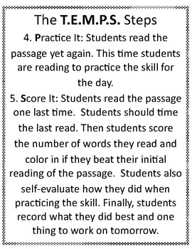 Fluency Practice Below -T.E.M.P.S