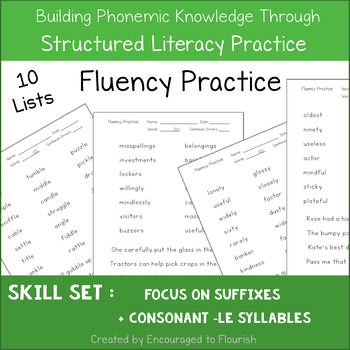 Fluency Practice - Focus on Suffixes and Consonant LE Syllables