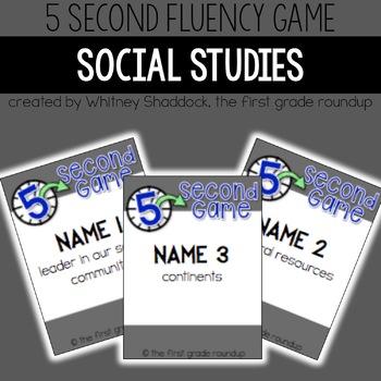 Fluency Practice Games: Social Studies (for K-2)
