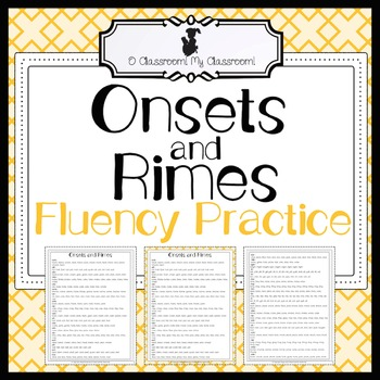 Fluency Practice - Onsets and Rimes - Increase Fluency and Reading Comprehension