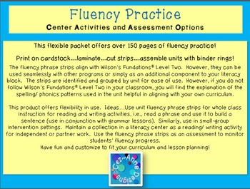 Fluency Practice ~ Level 2 Center Activities and Assessment Options