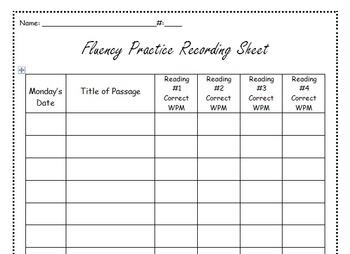 Fluency Practice Recording Sheet