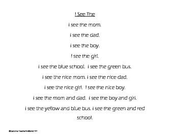 Fluency Practice Sentences