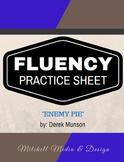 Fluency Practice Sheet - Enemy Pie by Derek Munson