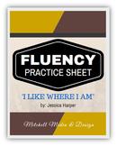 "Fluency Practice Sheet - ""I Like Where I Am"" by Jessica Harper"