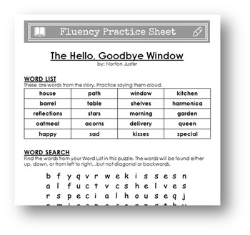 """Fluency Practice Sheet - """"The Hello, Goodbye Window"""" by Norton Juster"""