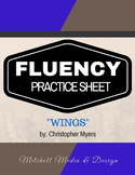 """Fluency Practice Sheet - """"Wings"""" by Christopher Myers"""