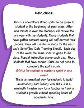 Fluency Practice - Subtraction 12's