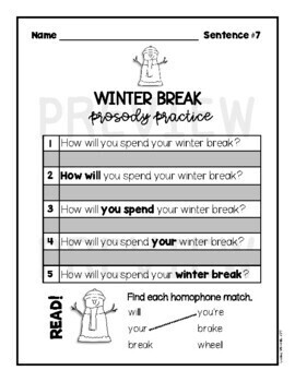 Fluency Practice (Winter Break Edition)