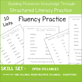 Fluency Practice - Words with Open Syllables