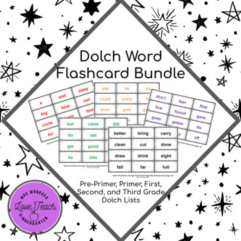 Fluency: Pre-Primer through Third Grade Dolch Sight Word Flashcards