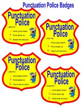 Fluency- Punctuation Police Badges