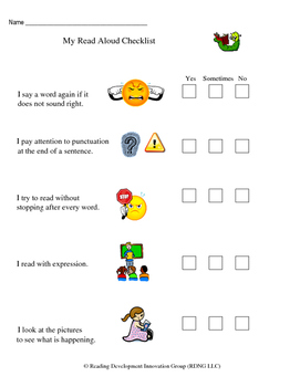 Fluency Read Aloud Self Assessment