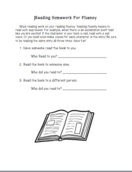 Fluency Reading Homework