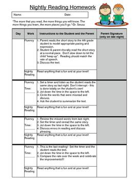 Fluency Reading Nightly Homework Sheet