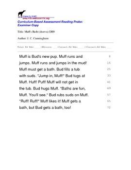 Fluency Reading Probes - 1st grade