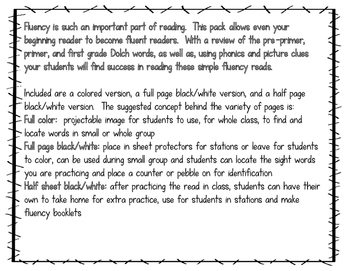 Fluency Reads for Beginning Readers-2nd Grade Dolch