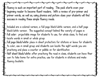 Fluency Reads for Beginning Readers--First Grade Dolch