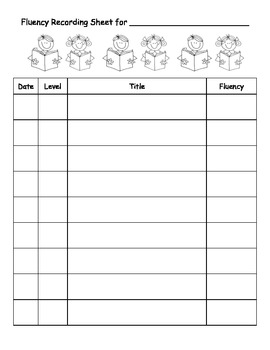 Fluency Recording Sheet