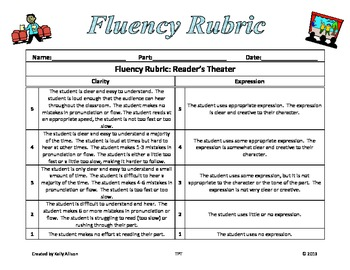 Fluency Rubric Reader's Theater