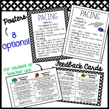 Fluency: PACING Rubrics, Posters, Feedback Cards & Partner Reading Resources