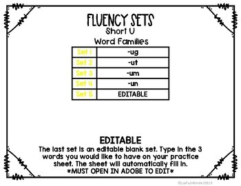 Fluency {SHORT U} - Editable
