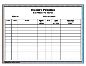 Fluency - Self Record Form