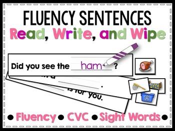 Fluency Sentences Read, Write, and Wipe Center (CVC)
