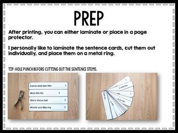 Fluency Sentences Read, Write, and Wipe Center (BUNDLE)