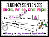 Fluency Sentences Read, Write, and Wipe Center (Long Vowels)