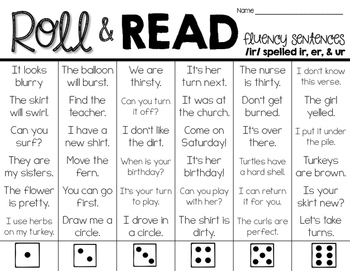 Fluency Sentences - Roll & Read FREEBIE
