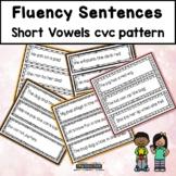 Fluency Sentences Short Vowels cvc Reading Intervention