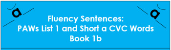 Fluency Sentences - Short a CVC ( Book 1b)