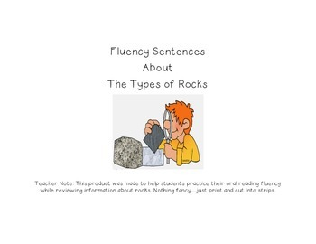 Fluency Sentences about the Types of Rocks