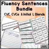 Fluency Sentences cvc & cvce Bundle Reading Intervention Back to School