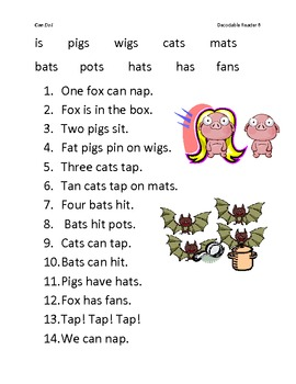 Fluency Sentences for Unit 1 Decodable Readers