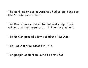 Fluency Sentences for the Boston Tea Party