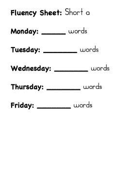 Fluency Sheet (Short a)