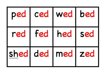 Fluency Short E Word Family Sort