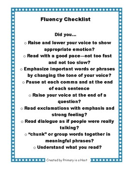 Fluency Skills Checklist
