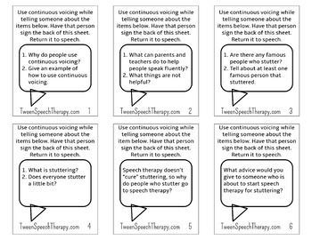 Fluency Speech Therapy Homework: Pocket Sized Continuous Voicing