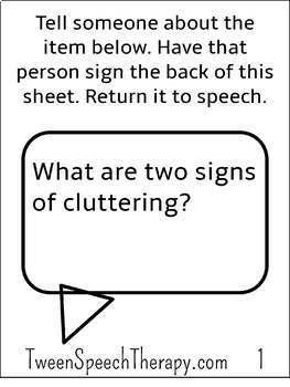 Fluency Speech Therapy Homework: Pocket Sized Cluttering