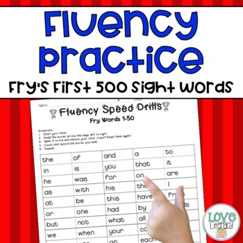 Fluency Speed Drills:  Fry's First 500 High Frequency Words